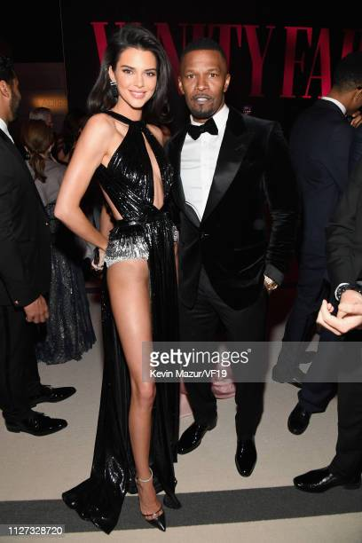 Kendall Jenner and Jamie Foxx attend the 2019 Vanity Fair Oscar Party hosted by Radhika Jones at Wallis Annenberg Center for the Performing Arts on...