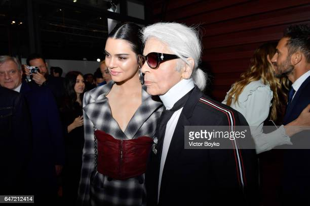 Kendall Jenner and Karl Lagerfeld attend the Cocktail Reception For The LVMH PRIZE 2017 on March 2 2017 in Paris France