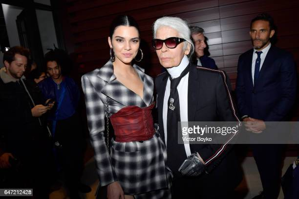 Kendall Jenner and Karl Lagerfeld attend the Cocktail Reception For The LVMH PRIZE 2017 on March 2, 2017 in Paris, France.