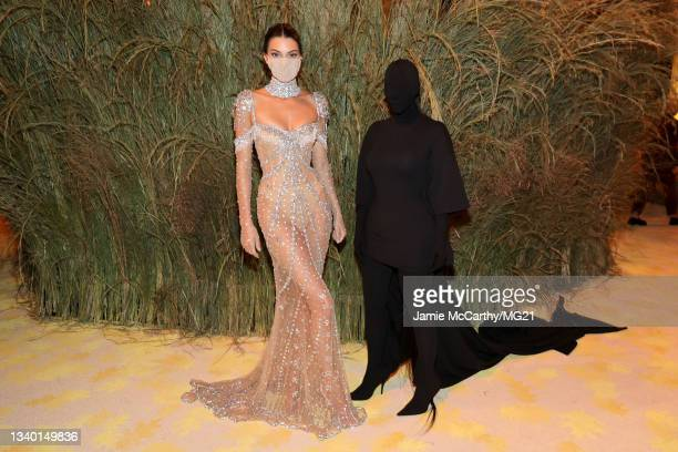 Kendall Jenner and Kim Kardashian attend the The 2021 Met Gala Celebrating In America: A Lexicon Of Fashion at Metropolitan Museum of Art on...