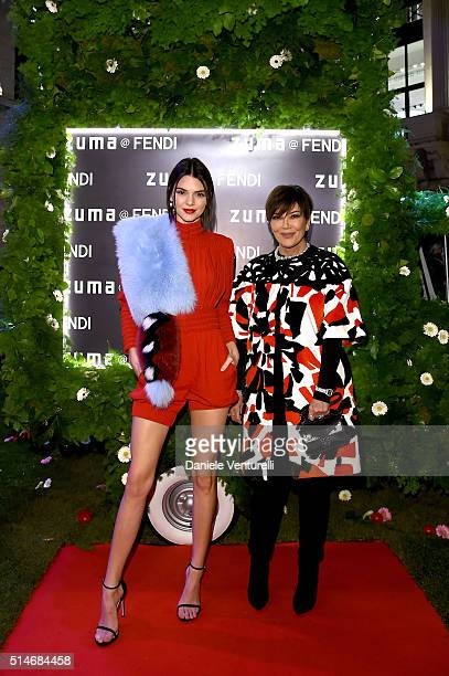 Kendall Jenner and Kris Jenner attend Palazzo FENDI And ZUMA Inauguration on March 10 2016 in Rome Italy