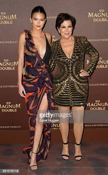 Kendall Jenner and Kris Jenner attend the Magnum Doubles Party at the annual 69th Cannes Film Festival at Plage Magnum on May 12 2016 in Cannes France