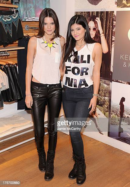 """Kendall Jenner and Kylie Jenner attend """"Kendall And Kylie"""" Fall Collection Preview at PacSun NYC Pop Up Shop on August 6, 2013 in New York City."""
