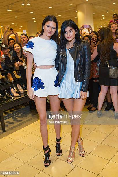 f8c9bfcf21d Kendall Jenner and Kylie Jenner pose for a photo at the Madden Girl meet  and greet