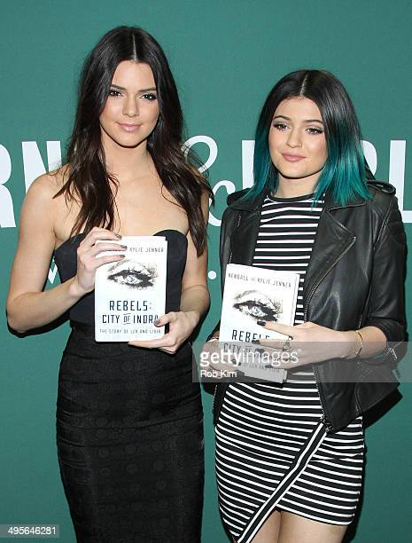 """Kendall Jenner and Kylie Jenner promote new book """"Rebels: City Of Indra : The Story of Lex And Livia""""at Barnes & Noble Union Square on June 4, 2014..."""