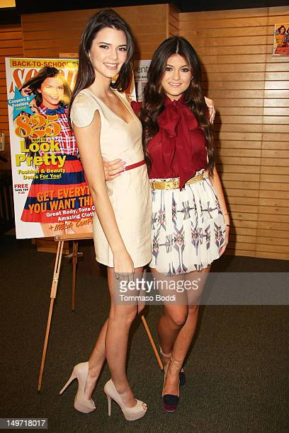 """Kendall Jenner and Kylie Jenner sign the september issue of """"Seventeen"""" Magazine at Barnes & Noble 3rd Street Promenade on August 2, 2012 in Santa..."""