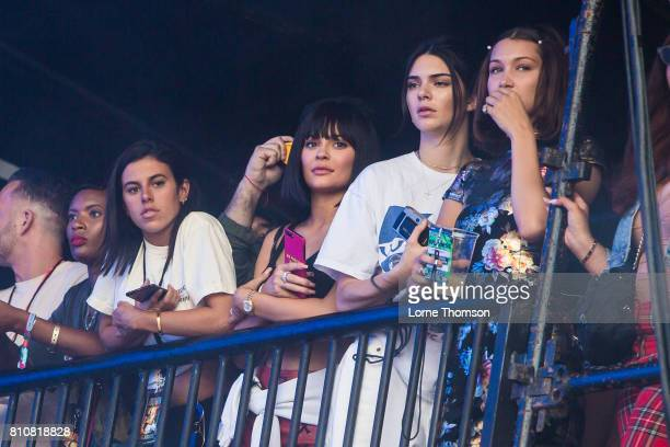 Kendall Jenner and Kylie Jenner watch Travis Scott's set side of stageat Wireless Festival Day 2 at Finsbury Park on July 8 2017 in London England