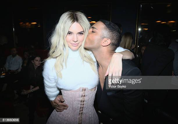 Kendall Jenner and Olivier Rousteing attend the Balmain Aftershow Party as part of Paris Fashion Week Womenswear Automn/Winter 2016 at Restaurant...