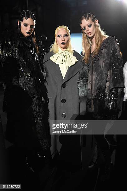 Kendall Jenner and singersongwriter Lady Gaga poses with models backstage at Marc Jacobs Fall 2016 fashion show during new York Fashion Week at Park...