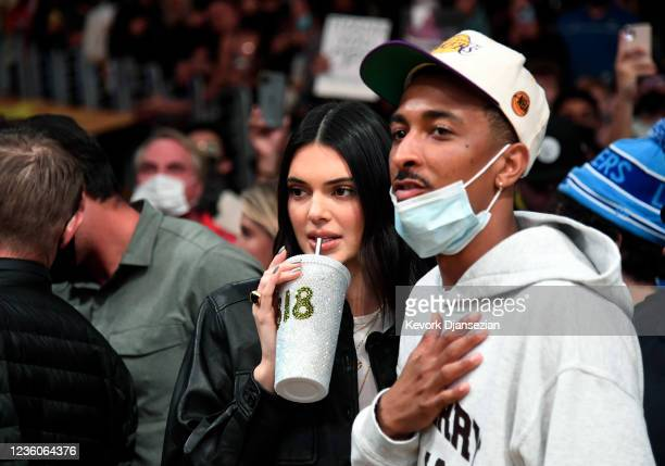 Kendall Jenner and Travis Bennett attend the Phoenix Suns and Los Angeles Lakers game at Staples Center on October 22, 2021 in Los Angeles,...