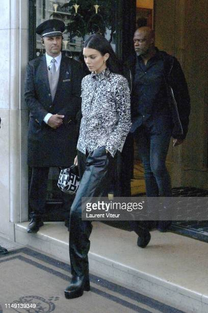 Kendall Jenner arrives at Hote Georges V on May 14 2019 in Paris France