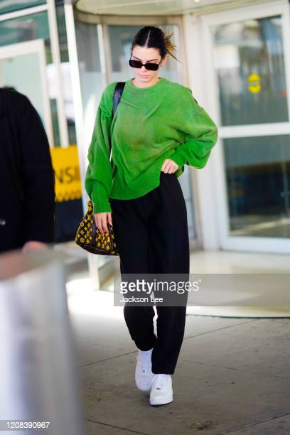 Kendall Jenner arrives at JFK Airport in New York on February 24, 2020.
