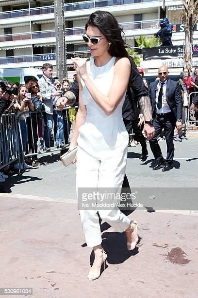 Kendall Jenner arrives at the Magnum Beach for a press conference during the 69th Annual Cannes Film Festival on May 12 2016 in Cannes France