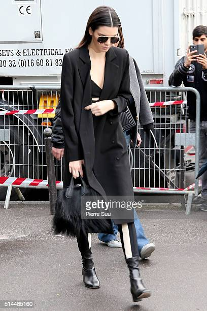 Kendall Jenner arrives at the Miu Miu show as part of the Paris Fashion Week Womenswear Fall/Winter 2016/2017 on March 9 2016 in Paris France