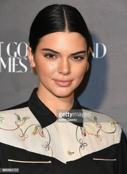 Kendall Jenner arrives at the What Goes Around Comes Around One Year Anniversary at What Goes Around Comes Around on October 11 2017 in Beverly Hills...