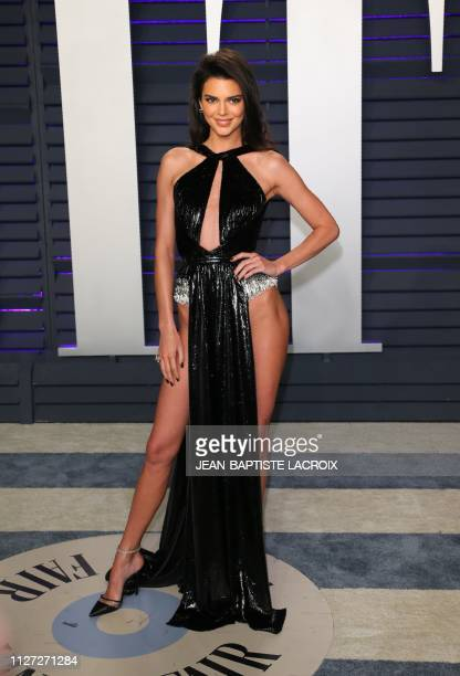 Kendall Jenner arrives for the 2019 Vanity Fair Oscar Party at the Wallis Annenberg Center for the Performing Arts on February 24 2019 in Beverly...