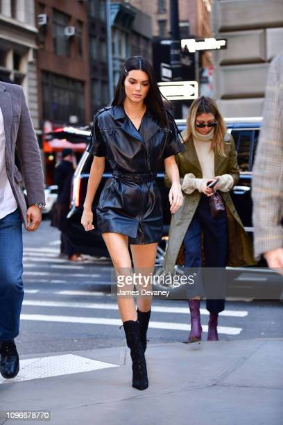 Kendall Jenner arrives to Longchamp Fashion Show at 28 Liberty Street during New York Fashion Week on February 9, 2019 in New York City.