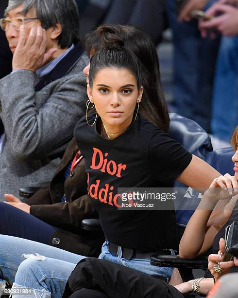 Kendall Jenner attends a basketball game between the Memphis Grizzlies and the Los Angeles Lakers at Staples Center on January 3 2017 in Los Angeles...