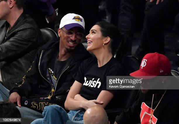 Kendall Jenner attends a basketball where LeBron James of the Los Angeles Lakers as he makes his home debut against the Houston Rockets at Staples...
