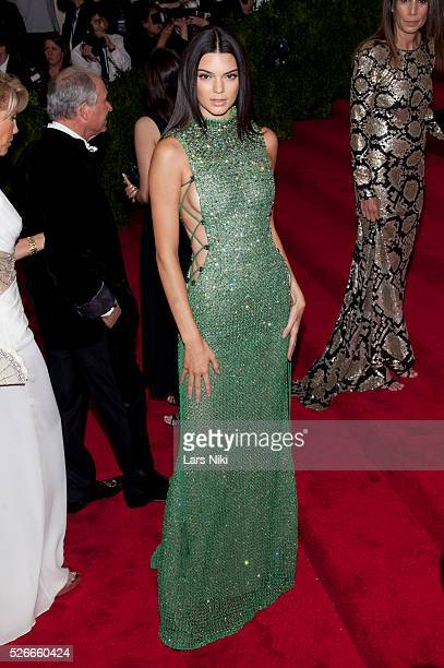 Kendall Jenner attends 'China Through the Looking Glass' 2015 Costume Institute Benefit Gala red carpet arrivals at the Metropolitan Museum of Art in...