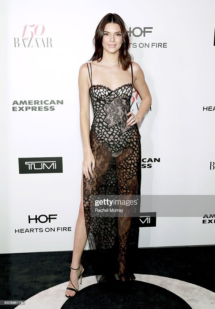 Kendall Jenner attends Harper's BAZAAR celebration of the 150 Most Fashionable Women presented by TUMI in partnership with American Express, La Perla, and Hearts On Fire at Sunset Tower Hotel on January 27, 2017 in West Hollywood, California.