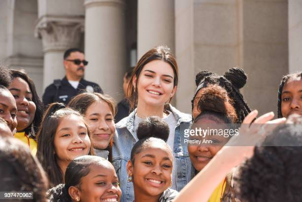 Kendall Jenner attends March For Our Lives Los Angeles on March 24, 2018 in Los Angeles, California.