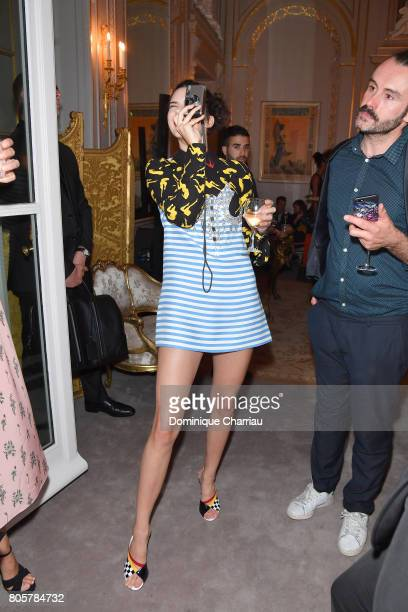 Kendall Jenner attends Miu Miu Cruise Collection cocktail party as part of Haute Couture Paris Fashion Week on July 2 2017 in Paris France
