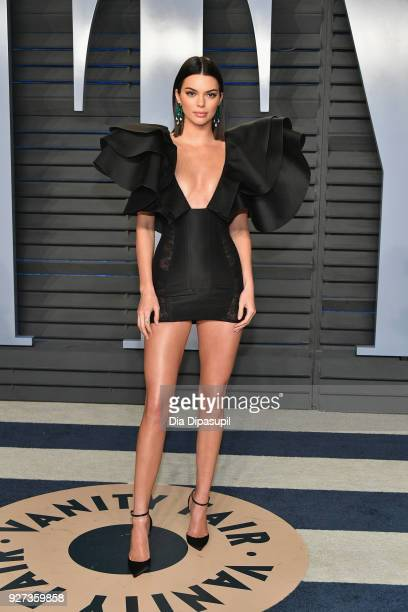 Kendall Jenner attends the 2018 Vanity Fair Oscar Party hosted by Radhika Jones at Wallis Annenberg Center for the Performing Arts on March 4 2018 in...