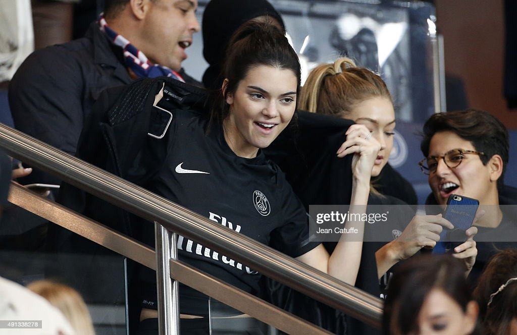 Kendall Jenner attends the French Ligue 1 match between Paris Saint-Germain FC (PSG) and Olympique de Marseille at Parc des Princes stadium on October 4, 2015 in Paris, France.