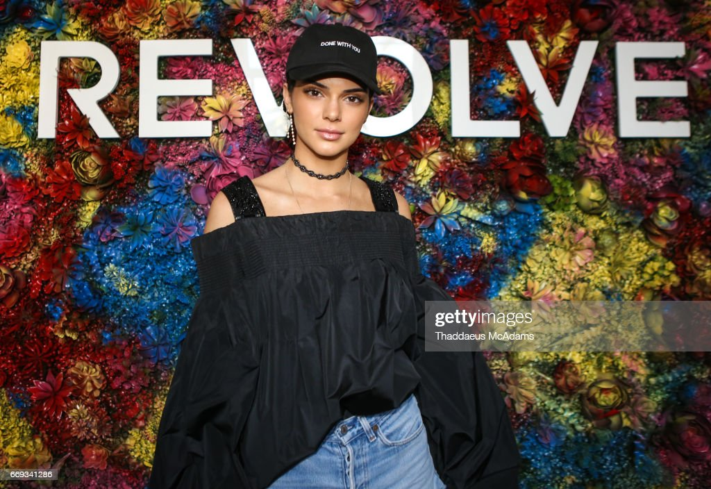 Kendall Jenner attends the REVOLVE Desert House during Coachella on April 16, 2017 in Palm Springs, California. on April 16, 2017 in Palm Springs, California.