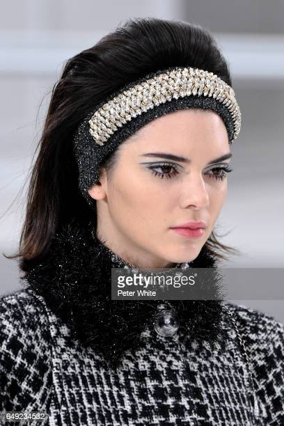 Kendall Jenner beauty detail walks the runway during the Chanel show as part of the Paris Fashion Week Womenswear Fall/Winter 2017/2018 on March 7...