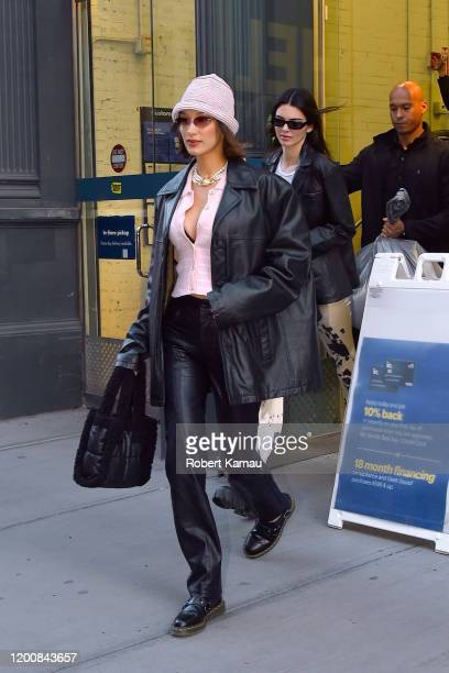 Kendall Jenner, Bella Hadid and Justine Skye seen out and about in Manhattan on February 14, 2020 in New York City.