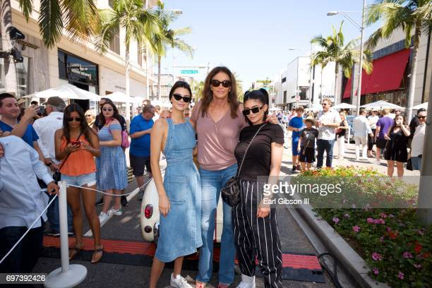 Kendall Jenner Caitlyn Jenner and Kylie Jenner pose for a photo as Caitly Jenner displays her AustinHealey Sprite at the Rodeo Drive Concours...