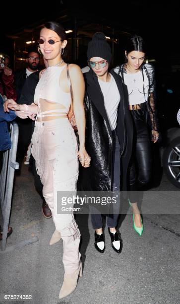 Kendall Jenner Cara Delevingne Bella Hadid arrive at Travis Scott concert on April 30 2017 in New York City