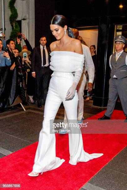 Kendall Jenner departs the Carlyle Hotel to attend Heavenly Bodies Fashion The Catholic Imagination Costume Institute Gala on May 7 2018 in New York...