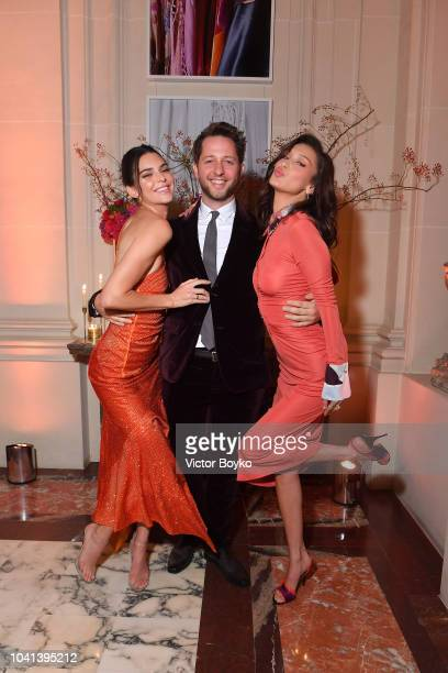 Kendall Jenner Derek Blasberg and Bella Hadid attend the YouTube cocktail party during Paris Fashion Week on September 26 2018 in Paris France