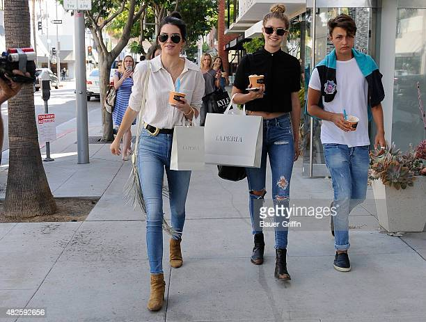 Kendall Jenner Gigi Hadid and Anwar Hadid are seen on July 31 2015 in Los Angeles California
