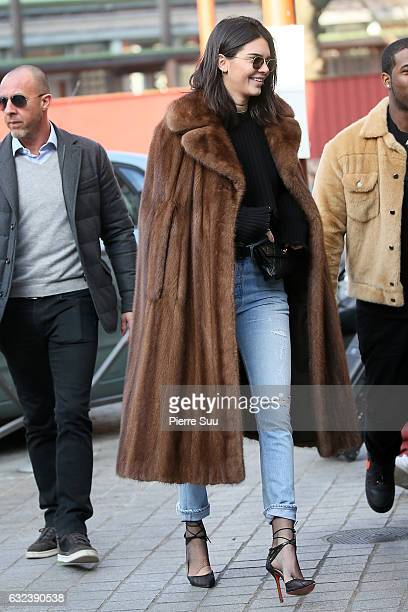 Kendall Jenner goesn to a Flea Market with her friend Asap Rocky buys a vintage Mink Fur Coat and wears it on January 22 2017 in Paris France