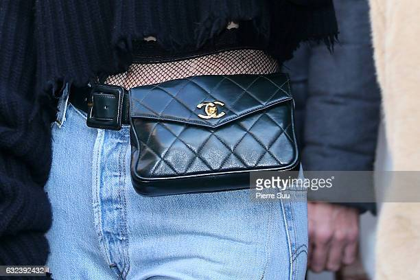 Kendall Jenner handbag detail sighting on January 22 2017 in Paris France