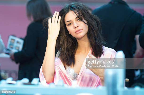 Kendall Jenner has her Hair Makeup done prior the 2016 Victoria's Secret Fashion Show on November 30 2016 in Paris France