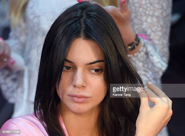 Kendall Jenner has her Hair Makeup done prior to the 2016 Victoria's Secret Fashion Show at the Grand Palais on November 30 2016 in Paris France