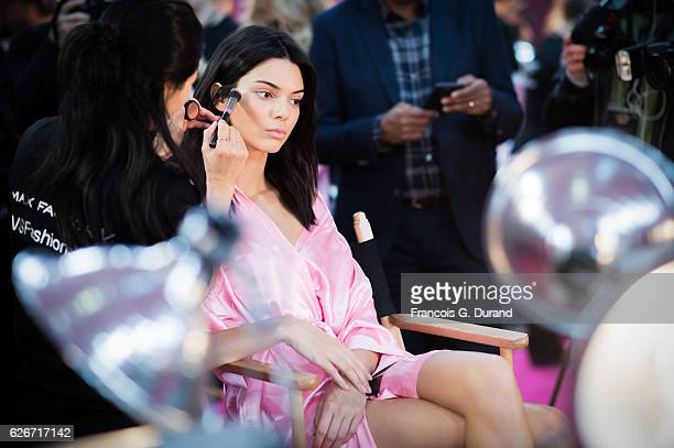 Kendall Jenner has her makeup and hair done backstage prior the 2016 Victoria's Secret Fashion Show on November 30 2016 in Paris France