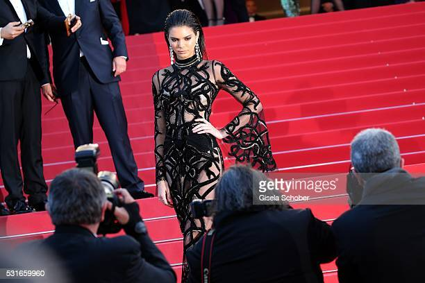 CANNES FRANCE MAY 15 Kendall Jenner in front photographers during the From The Land Of The Moon premiere during the 69th annual Cannes Film Festival...