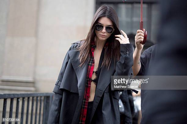 Kendall Jenner is seen at the Vera Wang Collection show during New York Fashion Week Women's Fall/Winter 2016 on February 16 2016 in New York City