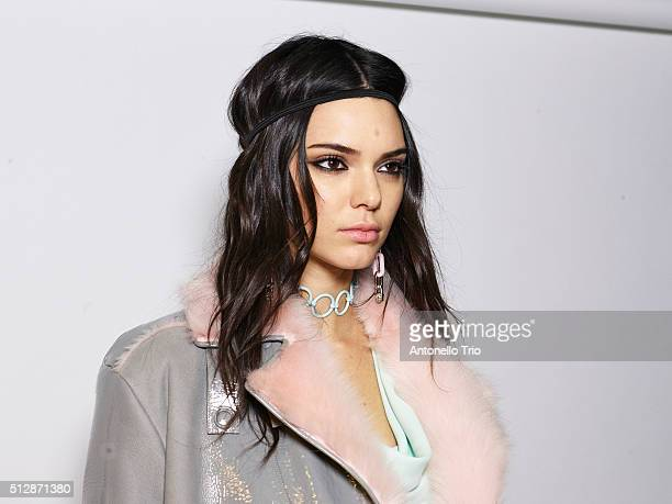 Kendall Jenner is seen backstage ahead of the Versace show during Milan Fashion Week Fall/Winter 2016/17 on February 26 2016 in Milan Italy