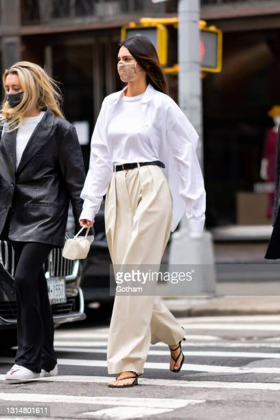 Kendall Jenner is seen in Tribeca on April 27, 2021 in New York City.