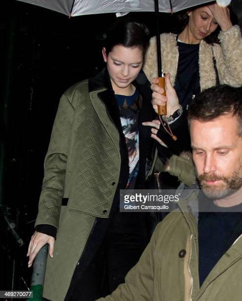 Kendall Jenner is seen leaving the Marc Jacobs fashion show during MercedesBenz Fashion Week Fall 2014 at Lexington Avenue Armory on February 13 2014...
