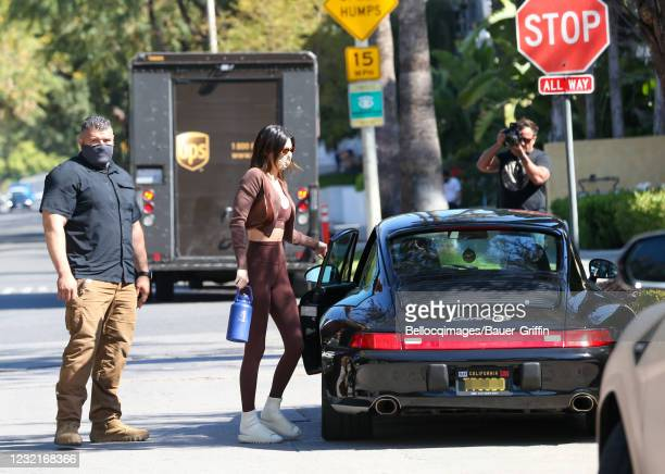Kendall Jenner is seen on April 07, 2021 in Los Angeles, California.