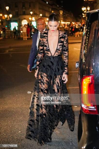 Kendall Jenner is seen outside the Longchamp 70th Anniversary Celebration at Opera Garnier on September 11 2018 in Paris France