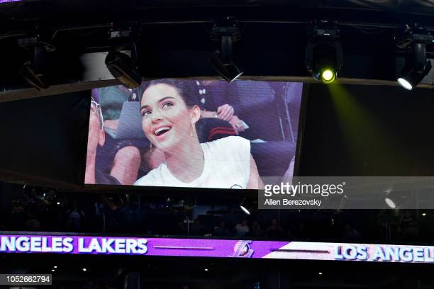 Kendall Jenner is shown on the jumbotron during a basketball game between the Los Angeles Lakers and the Houston Rockets at Staples Center on October...